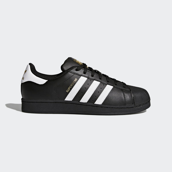 Кроссовки Adidas Superstar Black White gold logo