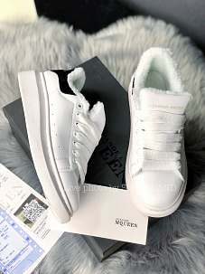 Зимние Кроссовки Alexander MCqueen White leather Black Suede (Мех)