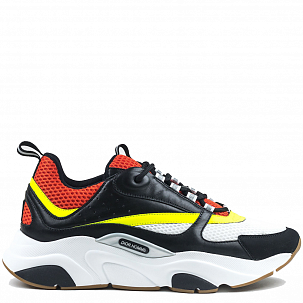 Кроссовки Dior Homme B22 Calfskin Trainer Black Red Yellow